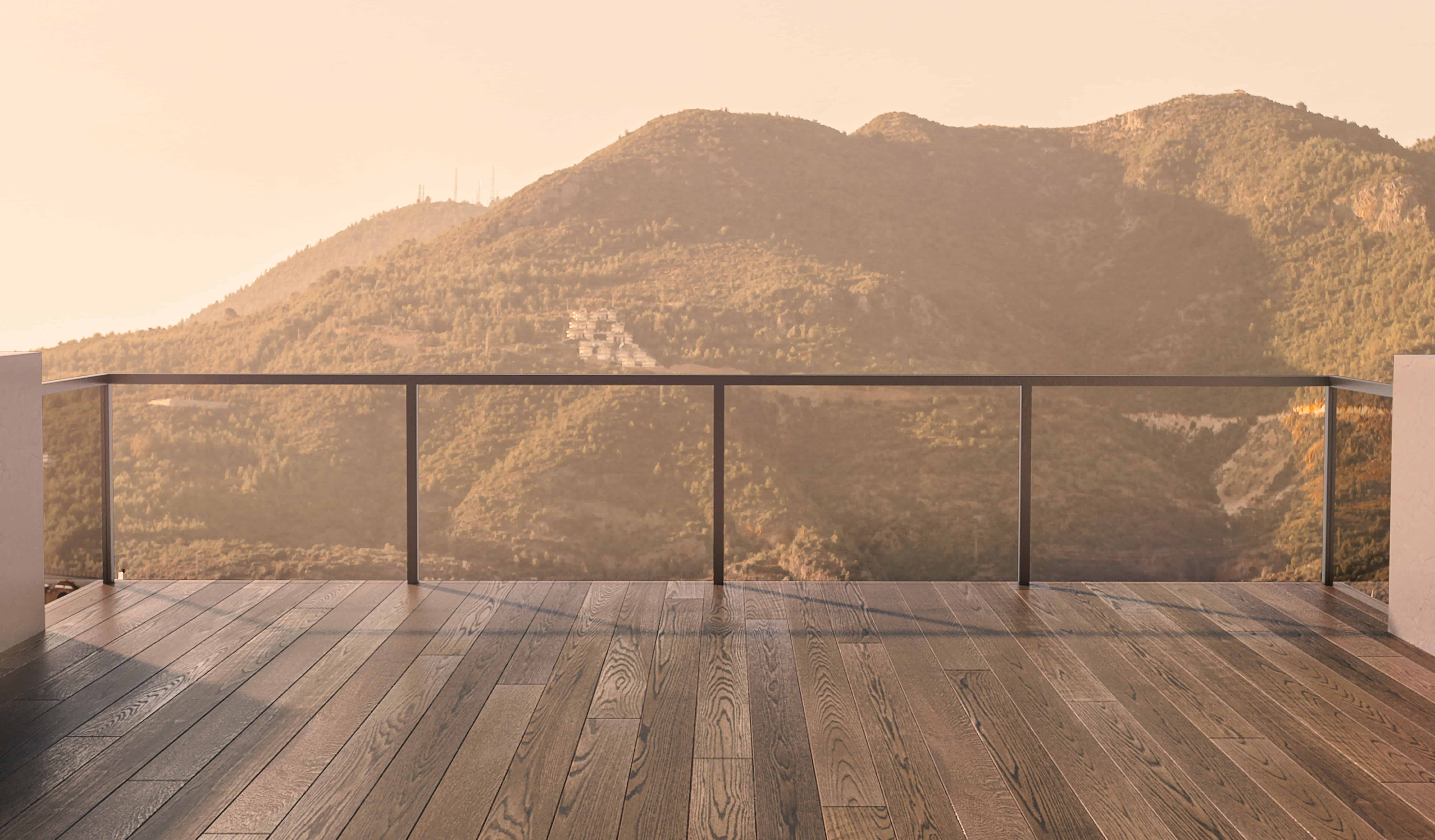 Balcony view of mountains. Landscape. Sunny Day. Terrace with a